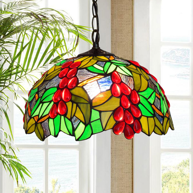 Tiffany Large Stained Gl Lighting Fruit Beach Pendant Light French Country Bohemian Multi Color Hanging Drop