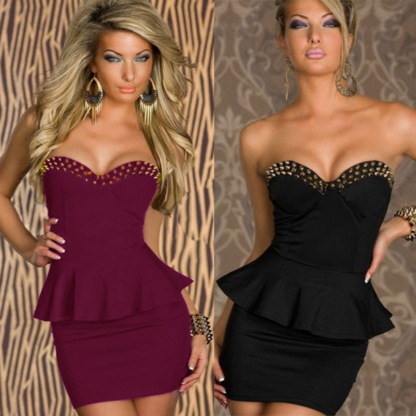 Women Formal Strapless Rivet Mini Dress Black Red Office Dress Set Female OL Peplum Dresses Tunic Bodycon Sexy Elegant Dress