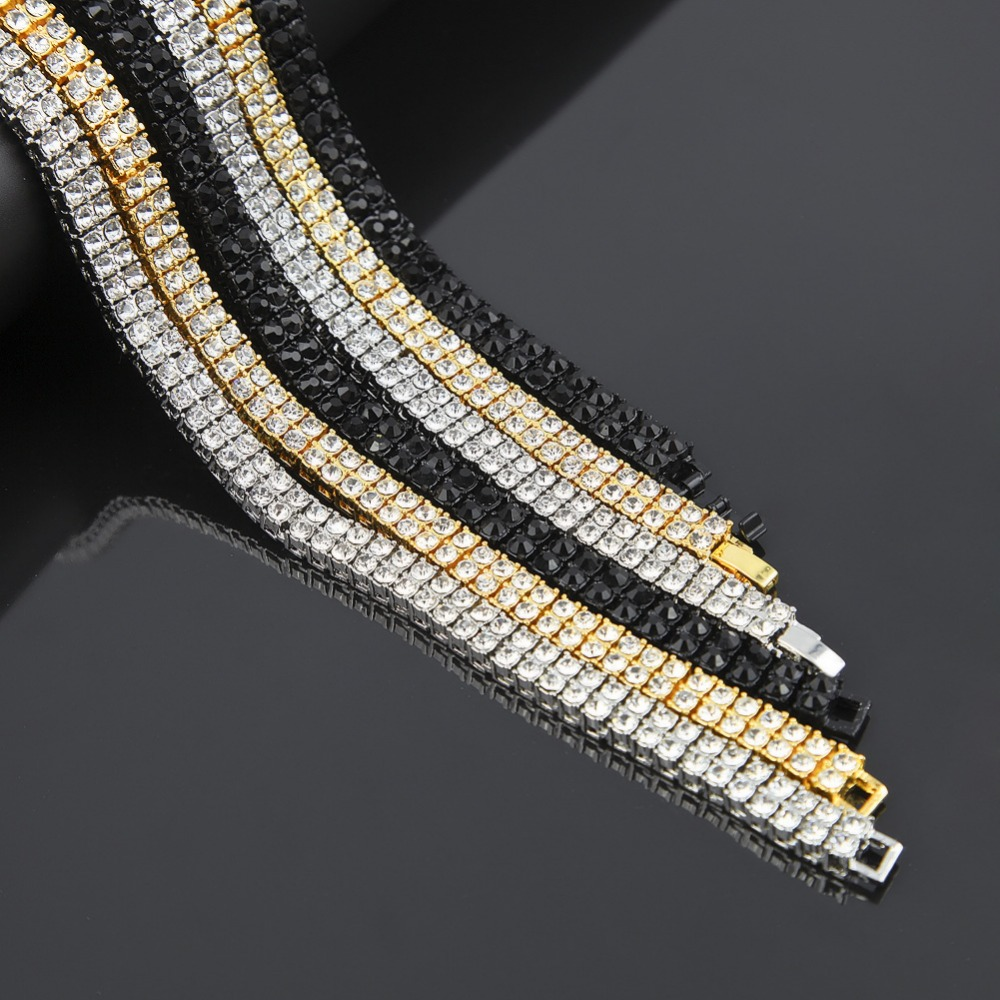 MCSAYS Hip Hop Jewelry Tennis Chain Necklace CZ 2 Rows Crystal Bling Black /Gold/ Silver Color Chain For Men Fashion Gifts 4GM