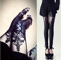 fashion cool gothic punk night club see through sexy hot strap slim women's leggings pu leather pants