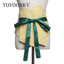 2019 Luxury Women Belt Plaid Wide Bandage for Dress Blouse All-match Decorative High Quality Female TOYOOSKY