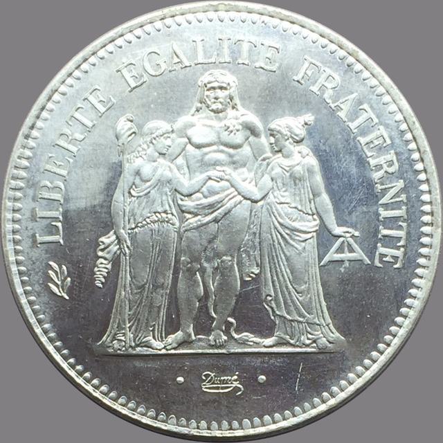 1978 France 50 French francs Hercule de Dupre Cupronickel Plated Silver Copy Coin