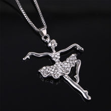 Fashion Silver Plated white Dancing Ballerina Dancer Ballet Dance Pendant Necklace Charm Girls Christmas Valentine's day Gift @3(China)
