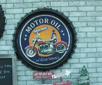 "Large 3D effect tin sign ""MOTOR OIL"" Vintage Metal Painting Beer cap Bar Wallpaper Decor Retro Mural Poster Craft 50x50 CM"