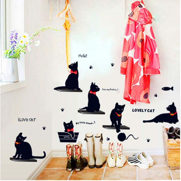 Removable Fashion Wall Stickers Black Cats Cartoon Corridor Bedroom Decorative Stickers It Does Not Hurt The
