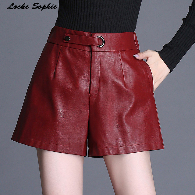 1pcs Elastic High waist shorts Women leather wide leg shorts 2018 Autumn PU leathe faux fur Mosaic shorts Ladies Skinny shorts