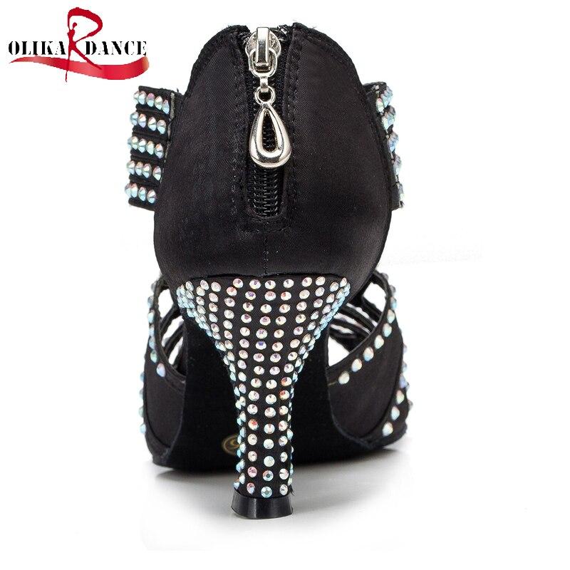 ФОТО New Ladies Black Satin Rhinestone Ballroom SALSA LatinTango Dance Shoes All Size /Dance Shoes