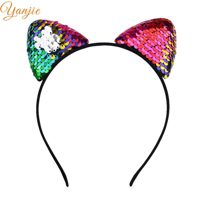 c6fb863dac67c Sequin Cat Ears Hair Band For Girls 2019 Party DIY Headband Women Glitter  Cat Ears Headband
