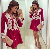 2016 New Arrival Casual Red Chiffon Dress Long Sleve V Neck Lace Dresses Button Above Knee