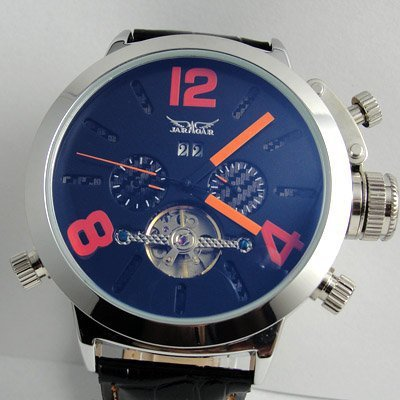 Leather Band Simple Style Fashion And Personality Tourbillon Elegant Calendar Blue Number Automatic Mechanical Man Watch
