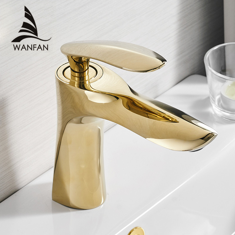 Basin Faucets Elegant Gold Bathroom Faucet Hot and Cold Water Basin Mixer Tap Chrome Finish Brass