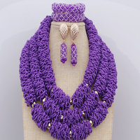 Gold Metal Beads Crystals Jewelry Sets New Handmade African Wedding Nigerian Beads Big Sage Purple Necklace Free Shipping