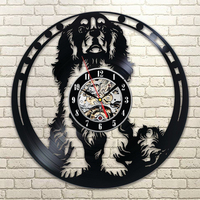 Hollow Cavalier King Charles Spaniel Dog Design 3D Record Wall Clock Modern Wall Art Vinyl  Amimal Silhouette Kids Room Decor