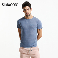 SIMWOOD 2017 Summer New T Shirts Men Slim Fit 100 Pure Linen Thin Tops Causal Fashion