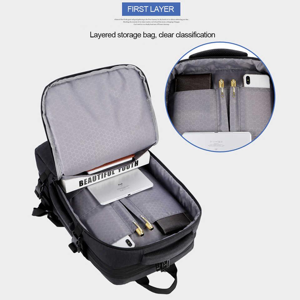 Anti Pencurian Ransel 17 Inch Laptop Pria Ransel Tahan Air Kapasitas Besar Perjalanan Backpacking Wanita Usb Pengisian Hitam Bagpack