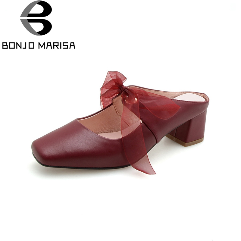BONJOMARISA New Fashion Genuine Leather Square Med Heels Solid Bowtie Shoes Woman Casual Summer Pumps Big Size 33-40 lapolaka new women s genuine leather square med heels ankle strap solid shoes woman casual summer sandals big size 33 40