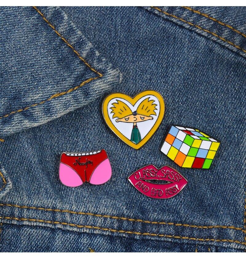 Lovely Cartoon Brooch Donut Cat Hamburger Metal Enamel Pins Women Denim Jackets Lapel Pin Dress Corsage Badge Cute Kids Jewelry Brooches