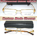 Custom made Reading glasses TITANIUM ALLOY semi-rim GOLD men's +0.5 +0.75 +1.25  +1.75 ++2.25 +2.75 +3.25 +3.75 +4.25 to +6.0