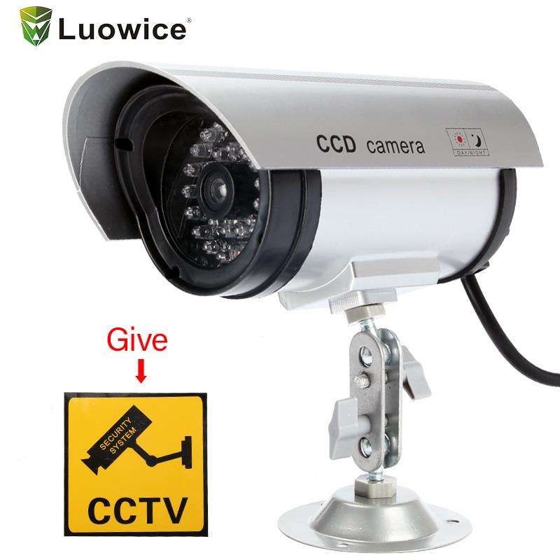 Outdoor Fake Simulation Dummy Camera CCTV Home Surveillance Security Mini Camera Flashing LED Light Fake Camera white