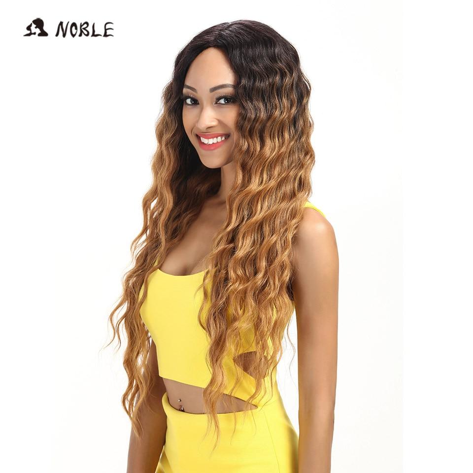 Noble Hair Products Lace Front Parykar 30 tum långa vågiga mörka - Syntetiskt hår - Foto 2