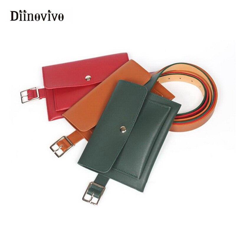 DIINOVIVO Fashion Women Bag Leather Waist Pack Femal Belt Phone Pouch Bags Hotsale Women Waist Packs Fanny Pack Bolosa WHDV0377