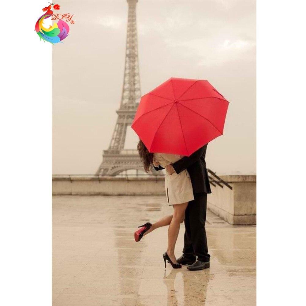 31cf82915 ④Caliente DIY Amante Paisaje Torre Eiffel paisaje Bordado de ...