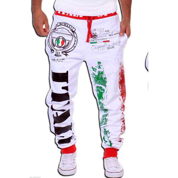 Модные хлопковые мужские повседневные штаны, популярные модели, спортивные штаны с принтом итальянского флага, повседневные штаны