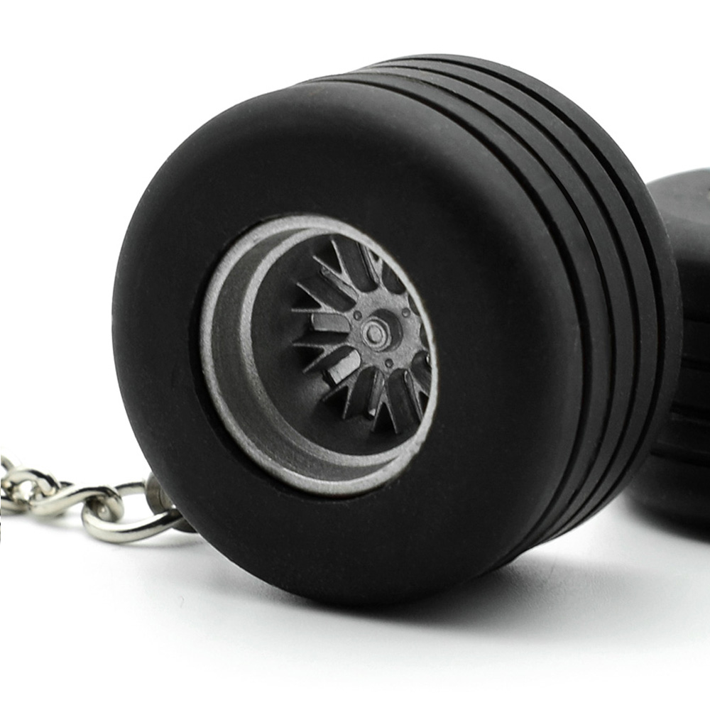 Creative Rubber Round Brake Car Keychain Metal Tire Wheel Keyring