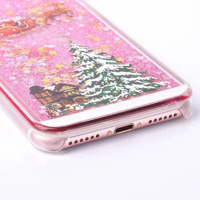 KMAX Phone Hard Case Christmas Gift For iPhone 5 5s 5se 6 6S 7 8 Plus For Samsung S5 S6 S7 Edge Glitter Liquid Quicksand cheap 4