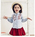 2016 Autumn Baby Girls Embroidery plum blossom Denim shirt kids Washing grinding white cowboy shirt Wholesale