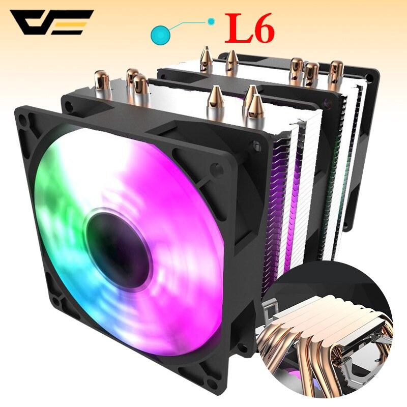 Aigo-enfriador de CPU Darkflash, 6 tuberías de calor, disipador térmico de doble Torre, 90mm, ventilador led, 3 pines, enfriamiento por ventilador de CPU para ordenador LGA775/115x/1366 AMD