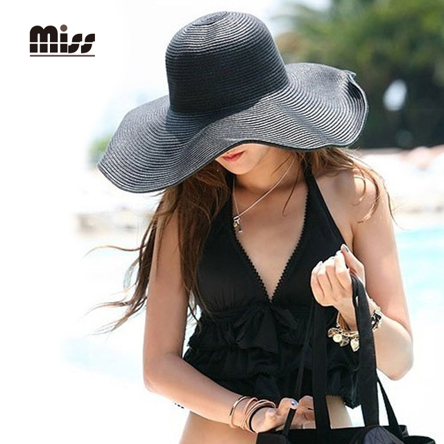 MISS 2016 Summer Hats For Women Foldable Wide Beach Sun Hat Female Sun Visors For Elegant Ladies Straw Hats T5B65