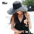 SEÑORITA 2016 Sombreros de Verano Para Mujeres Ancho Plegable Beach Sun Sombrero Viseras Femeninos Para Las Señoras Elegantes Sombreros de Paja T5B65