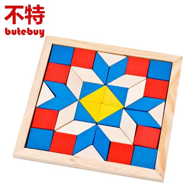 Niños de madera diamante geometría Tangram lógica rompecabezas IQ ...
