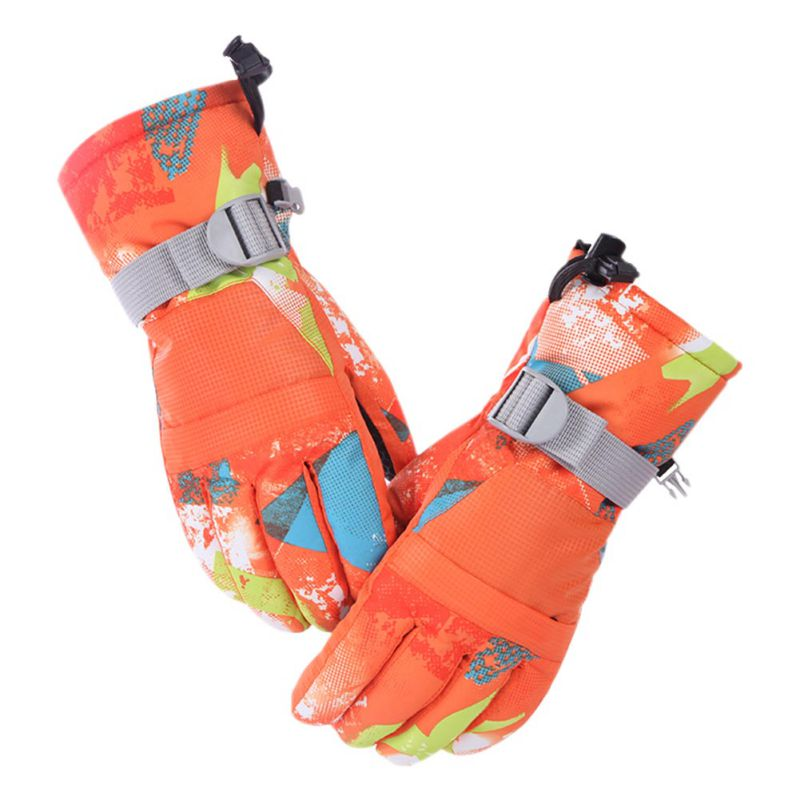 Outdoor Winter Warm Skiing Gloves Windproof Waterproof Adult Snowboarding Sports Snow Mittens Extended Wrist Skiing Gloves
