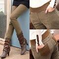 Plus Size S-4XL Mulheres Calças Lápis de cintura alta Skinny Preta Grossa De Veludo Inverno Quente Leggings Jeggings Calças Legins Feminina