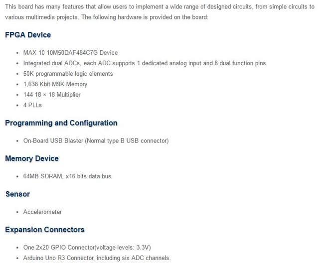 Programmable Logic IC Development Tools MAX 10 10M50DAF484C7G DE10-LITE  MAX10 EVAL BOARD P0466