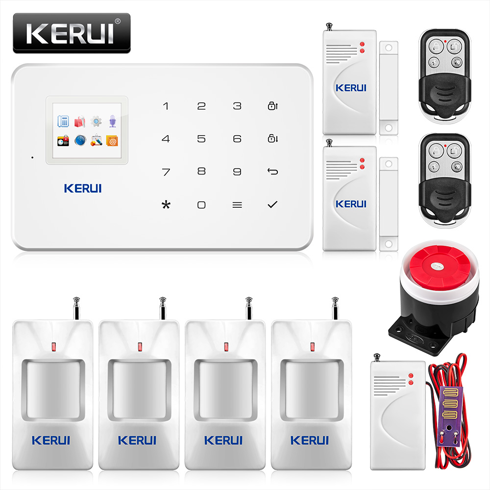Kerui G18 Built-in antenna alarm Wireless Door Sensor PIR Motion Detector Kit LCD GSM SIM card House security Alarm systemKerui G18 Built-in antenna alarm Wireless Door Sensor PIR Motion Detector Kit LCD GSM SIM card House security Alarm system