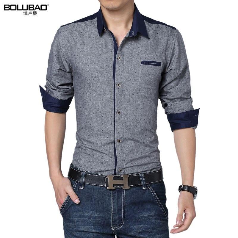 2017 New Men Casual Polka Dot Shirt 16 Model Cotton Male ...