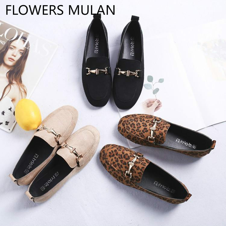 Luxury Leopard Black Suede Girl Loafers Chic Metal Buckle Mules Slip On Round Toe Casual Shoes Slip On Brand Women Flats Design