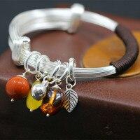 L P Original Handmade Natural Amber Vintage Sterling Silver Bangles For Women National Style Vintage Pure