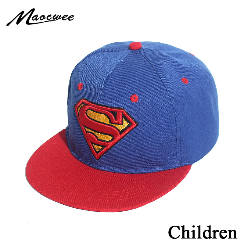 Embroidery Superman Snapback Hat 3-8 Year Super Man Adjustable Hip Hop Casual   Baseball     Cap   For Kids Boys Girls Bones 2019