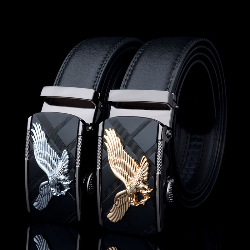 KAWEIDA Designer   Belts   for Men 2018 Eagle Metal Automatic Buckle Cowskin Split Leather Waist   Belt   for Men Black Brown Kemer