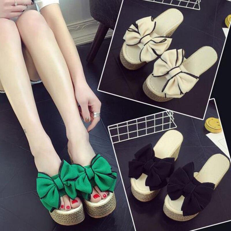 Summer Sweet Style Women Ladies Beach Wear Platform Wedges Slippers Shoes Cork Soft Bottom Slides Butterfly Knot Stretch Fabric