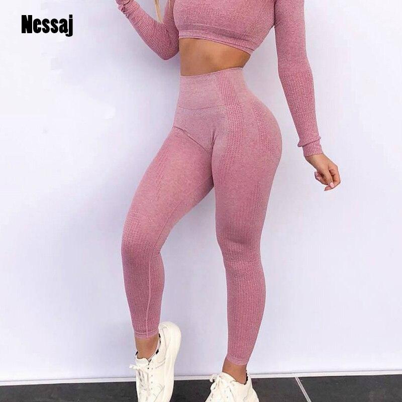 Nessaj Women Seamless Leggings 14 Colors High Waist Push Up Pants High Waist Sportswear Leggings Workout Running Sexy Leggings