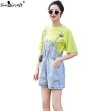 New Overalls Womens Summer Cute Elastic Waist Large Pocket Short Pants Jeans Bib Casual Loose Women Denim Shorts