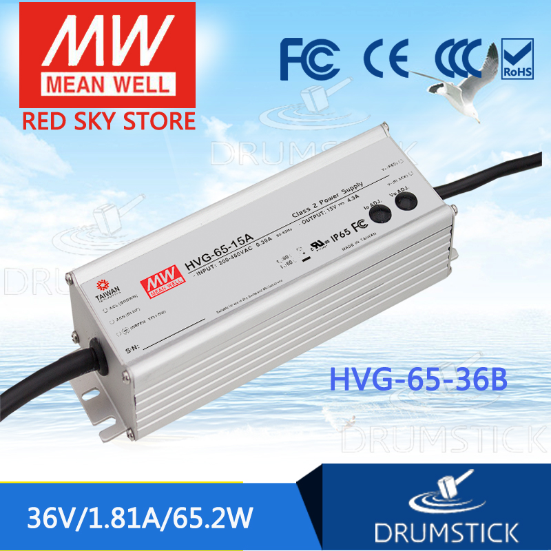 цена на MEAN WELL HVG-65-36B 36V 1.81A meanwell HVG-65 36V 65.2W Single Output LED Driver Power Supply B type