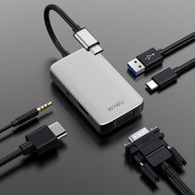 WIWU 5 in 1 USB Hub Multi Ports VGA HDMI Adapter for MacBook Pro Type C Hub 3.5mm Audio USB Splitter for Samsung Huawei USB Hub хаб usb activ type c wiwu t4 5 in 1 grey 84742