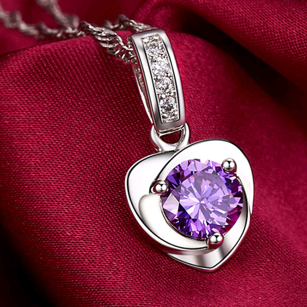 2016 New Hot heart natural amethyst necklace female 925 pure silver jewelry design fashion necklaces & pendants pendants for