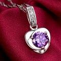 2016 New Hot projeto do coração natural ametista colar feminino 925 prata pura jóias moda colares & pingentes pingentes para